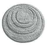 mDesign Soft Microfiber Polyester Non-Slip Round Spa Mat, Plush Water Absorbent Accent Rug for Bathroom Vanity, Bathtub/Shower - Concentric Circle Design, Machine Washable - 24' Diameter - Gray