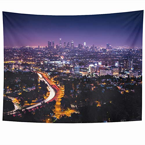 (Ahawoso Tapestry 80 x 60 Inches Downtown Purple City View Los Angeles Hollywood Freeway Hills Night Light Cityscape Nightlife Horizon Wall Hanging Home Decor Tapestries for Living Room Bedroom Dorm)