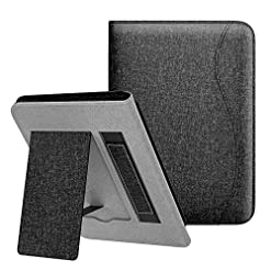 Dadanism Case Fits All-New Kindle 10th Generation 2019 Release / 8th Generation 2016, Slim Lightweight Hands-Free Stand Cover with Hand Strap, Not Fit Kindle Paperwhite – Denim Black (Auto Sleep/Wake)