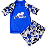 Baby Kids Girls Two Pieces Cartoon Short Sleeve Quick Dry Swimwear Swimsuit Rash Guard Set (1-2 Years, Blue)