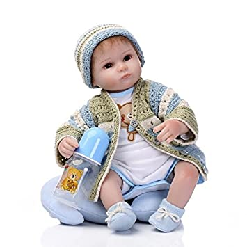 Nicery Reborn Baby Doll Soft Silicone 18in 45cm Toy Green Girl Boy Eyes Open