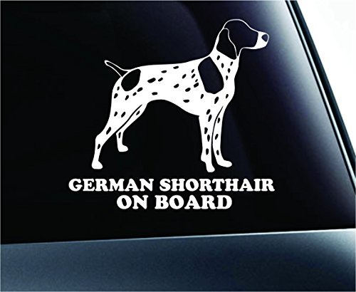 German Shorthair Pointer on Board Dog Symbol Decal Paw Print Dog Puppy Pet Family Breed Love Car Truck Sticker Window (White), Decal Sticker Vinyl Car Home Truck Window Laptop