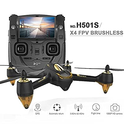 HUBSAN H501SS X4 Drone RC 5.8G Brushless FPV Quadcopter Drone for Adults with 1080P HD Camera Live Video GPS Headless Mode Black from HUBSAN