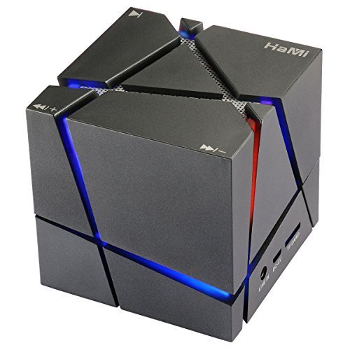 Hami Allspark Cube Wireless Bluetooth Speaker, Led Light Portable Bluetooth Speaker Powerful Sound with Build-in Microphone, Work for Iphone Ipad, Ipod Samsung Tablet Laptop Mp3 CD Player