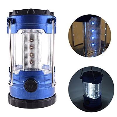 1 Pcs Glittering Fashionable 12-LED Lantern Night Light Portable Bright Reading Adjustable Switch Hiking Fishing Energy Saving Color Blue with Compass