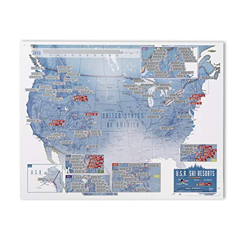 (Maps International - Scratch Off USA Map Skiing Print - 22 x 17 inches )