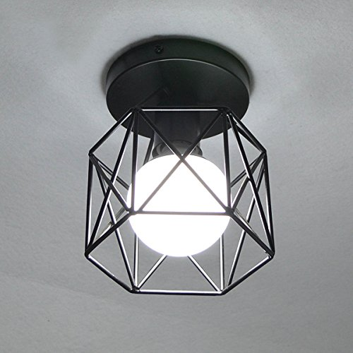 Lysed Semi-Flush Mount Ceiling Light E26/27 Edison Bulb Industrial Vintage Style Black Painting Finish for Hallway Study Room Office Bedroom Decoration Vanity Lights Hanging Light Fixture by Lysed (Image #3)