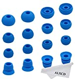 ALXCD Ear Tips for Powerbeats 2 Wireless Headphone, SML 3 Sizes 6 Pair Silicone Replacement Earbud Tips & 2 Pair Double Flange Ear Tip Cushion, Fit for Beats Powerbeats2 Wireless [8 Pair](Blue)