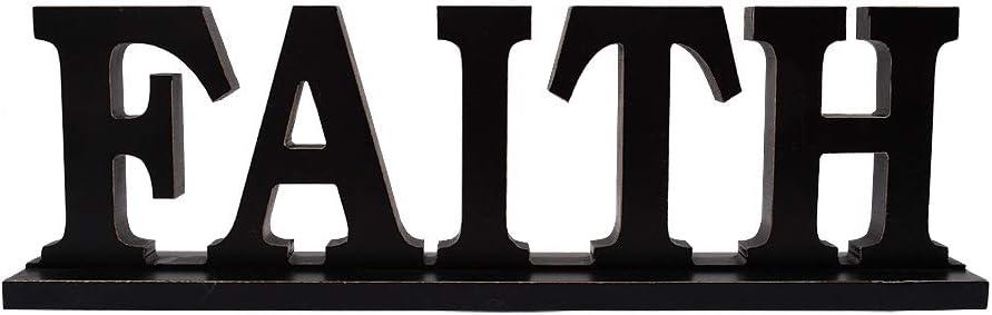 "Rustic Wood Faith Sign for Home Decor, Decorative Wooden Cutout Word Decor Freestanding Faith Tabletop Decor, 16.2"" X 4.85"" Black Faith Block Letters Sign Faith Mantel Decor (Black Faith Sign)"
