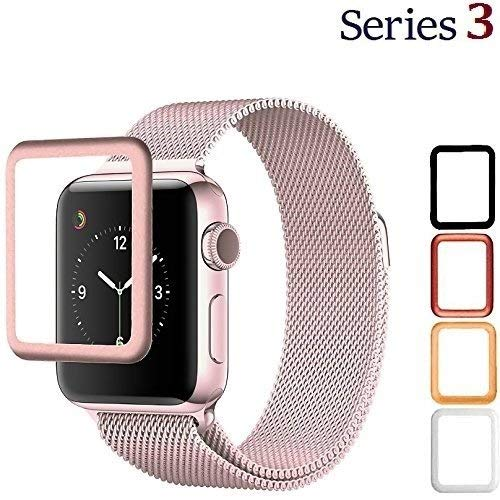 Josi Minea iWatch 3 [ 38mm ] 3D Tempered Glass Screen Protector with Edge to Edge Coverage Anti-Scratch Ballistic LCD Cover Guard HD Shield Compatible with Apple Watch Series 3 [ 38mm - Rose Gold ]