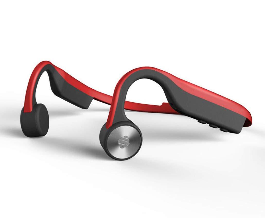 Bluetoothヘッドセット ボーンコンダクション 聴覚補助ヘッドホン 防水 ノイズ低減 ハイファイBluetooth 4.2ヘッドフォン アウトドアヘッドマウントスポーツ レッド 4525232253162 B07HH5S68B レッド