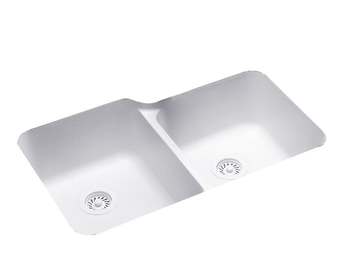 Swanstone US03015SB.010 Solid Surface Undermount Double-Bowl Kitchen Sink, 33-in L X 21.25-in H X 8.25-in H, White
