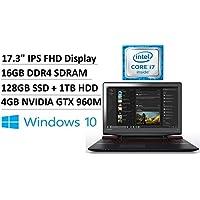 2017 Lenovo 17.3 FHD IPS LED Anti-Glare Gaming Laptop, Intel Quad-Core i7-6700HQ up to 3.5GHz, 4GB NVIDIA GeForce GTX 960M, 16GB DDR4, 128GB SSD, 1TB HDD, 802.11ac, HDMI, Backlit Keyboard, Windows 10
