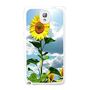 Lovely Flowers Sunflowers Print Samsung Galaxy Note 3 N9005 Cover Case Floral Pattern Design Protective Cell Phone Case Skin for Girls (sunflowers 01)