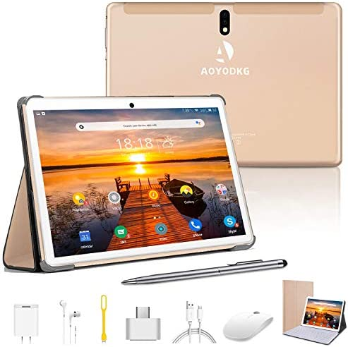 10 Inch Tablet with Keyboard Case, Android 9.0 Pie Tablet, 4GB RAM 64GB ROM/128GB Expand, Dual 4G SIM/WiFi Cellular, 8MP Camera, 8000mAh,Bluetooth GPS OTG (Gold)