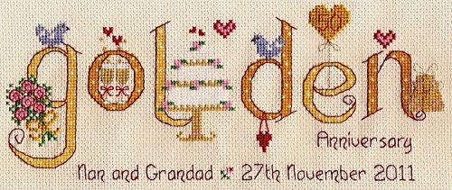 Golden Wedding Anniversary Word Sampler Cross Stitch Kit