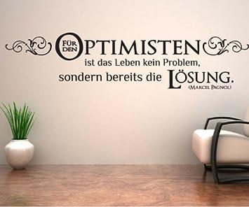 Wandtattoo Spruch Optimist Blumenranke Sprüche Aufkleber Zitate