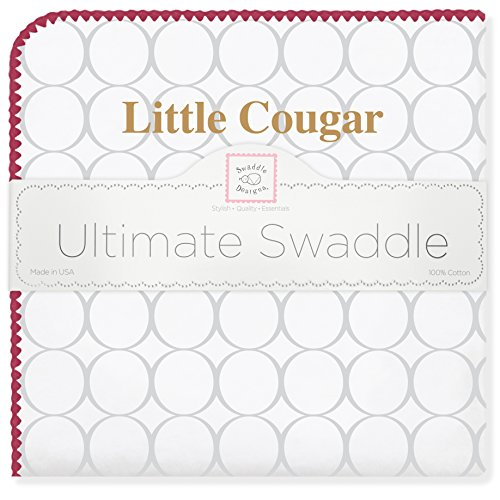 SwaddleDesigns Ultimate Swaddle, X-Large Receiving Blanket, Made in USA Premium Cotton Flannel, College of Charleston, Little Cougar (Mom's Choice Award Winner)