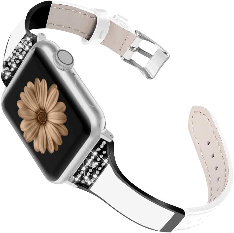 SEARME TREND Compatible with Apple Watch Bands 38mm 40mm 42mm 44mm Women Men, Slim Leather Bling Diamond Rhinestone Jewelry Strap for iwatch Series SE 6/5/4/3/2/1, 38mm 40mm White+Black Adapter