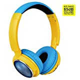 Contixo KB-300 Kid Safe 85DB Over the Ear Wireless Bluetooth LED Headphone with Volume Limiter, Built-in Microphone, Micro SD, FM Stereo Radio, Audio Input, Blue + Yellow