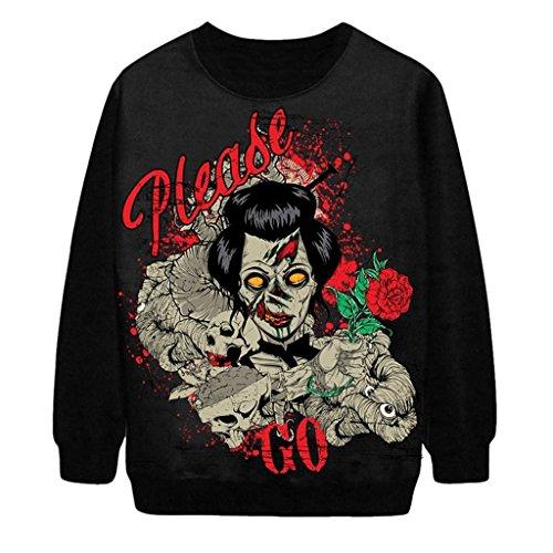 Tobyak Women's Round Neck Halloween Topic Print Patchwork Sweater Sweatshirts Black3X-Large (Rubies Halloween Jamaica)