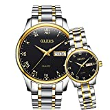 OLEVS 2Pcs Women & Men Day-Date Windows & Luminous Titanium Steel Band Quartz His & Her Couple Wrist Watches, Valentines Gift