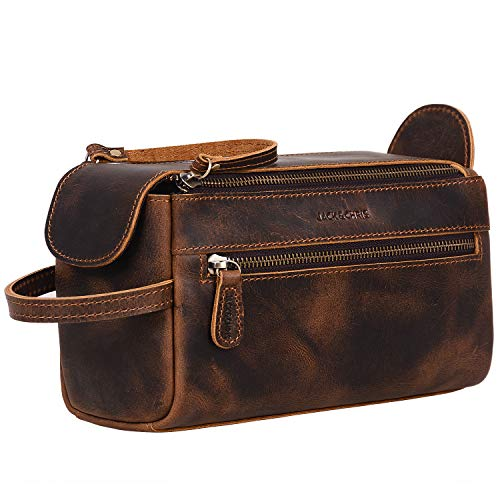 Jack&Chris Genuine Leather Unisex Travel Toiletry Bag Dopp Kit,1800-8