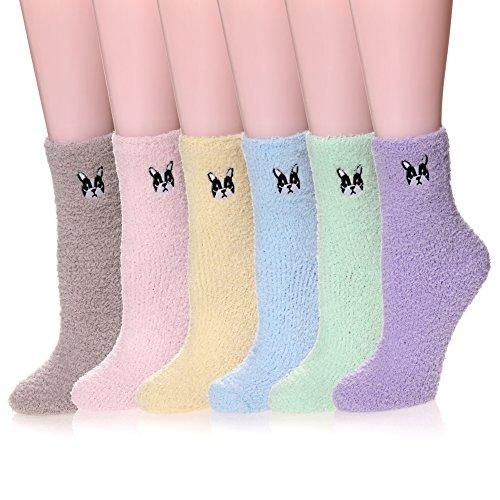 HERHILLY 6 Pack Women's Cozy Warm Fuzzy Crew Soft Sleeping Slipper Socks (6 Pack Dog) ()