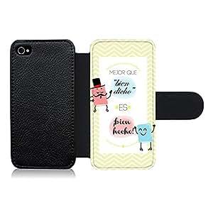 """Funda carcasa de cuero para Apple iPhone 4 4S diseño frase """"mejor que bien dicho es ¡bien hecho!"""""""