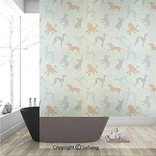 3D Decorative Privacy Window Films,French Bulldog Greyhound Poodle Terrier Silhouette Pure Breed Animals Canine Type Decorative,No-Glue Self Static Cling Glass film for Home Bedroom Bathroom Kitchen O