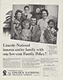 1958 Lincoln National Life Insurance Ad 'Family Policy'