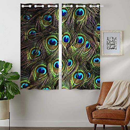 HommomH 24 x 36 inch Curtains 2 Panel Grommet Top Darkening Blackout Room Green Peacock Feathers
