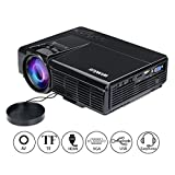 WiMiUS Portable Mini LED Projector HD Support 1080p 800*480 750 Lumens with AV/ VGA/ USB/ SD/ HDMI Home Theater Movie Video LCD Projector With HDMI Cable (black)