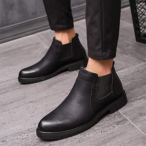 Couture Mode Haut Chaussures Personnalité De Pure Couleur Bottes Formelle Casual Style Iwgr Semi Noir Botte Cheville D'affaires Hommes vpdqxawP