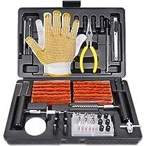 Kit de Reparación de Neumáticos, POPOMAN Reparación de Neumáticos 100pcs, con Mechas para llantas, Herramientas