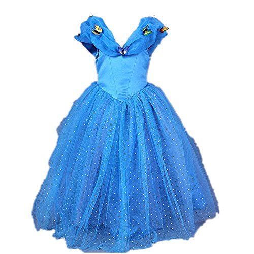 3 Year Old Costumes (Starkma 2015 Movie Girls Cinderella Dress Blue Butterflies Princess Costume 3-7year (3 years old))