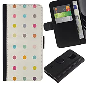 Paccase / Billetera de Cuero Caso del tirón Titular de la tarjeta Carcasa Funda para - Polka Dot Pastel Beige Yellow Colors Pattern - Samsung Galaxy S5 V SM-G900