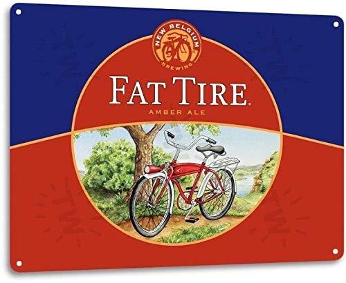 SRongmao Fat Tire Craft Beer Logo New Belgium Bar Pub Man Cave Wall Decor Metal Tin Sign 16x12in
