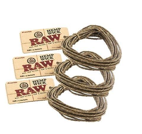 RAW Natural Unbleached Hemp & Beeswax Hemp Wick 13ft / 4 Meters (3 Pack)