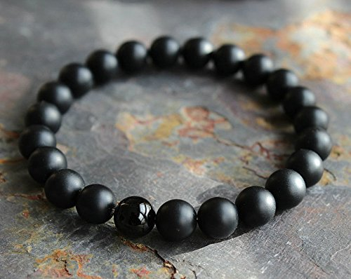 Phonphisai shop Mens Matte Black Onyx Yoga Energy Beaded Bracelet Boyfriend Gift for Him Jewelry (Beaded Matte)