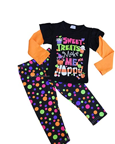 Boutique Clothing Girls Halloween Sweet Treat Make Me Happy 12-18M/2XS (Sweet 16 Items)