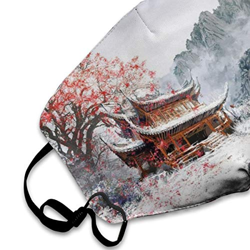 Winter Temple Dust Mask, Reusable Washable Mouth Masks, Adjustable Warm Face Mask Unique Cover Filters Blocking Pollen Pollution Germs