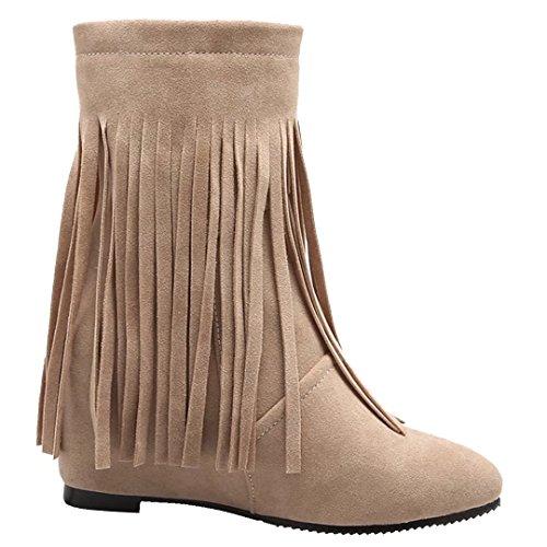 AIYOUMEI Damen Winter Keilabsatz Stiefeletten mit Höhenerhöhung und Fransen Modern Bequem Fransenstiefel Beige
