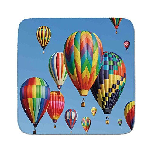 Cozy Seat Protector Pads Cushion Area Rug,Colorful Home Decor,Nostalgic Hot Air Balloons in Sky Flying Journey Fun Adventure Hobby Theme,Blue,Easy to Use on Any Surface ()