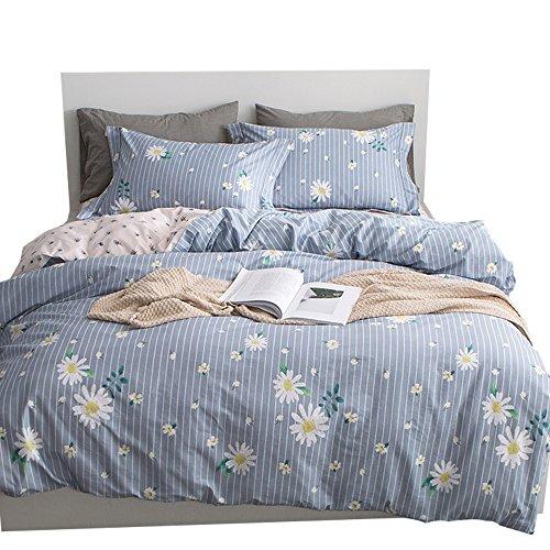 Daisy Duvet Set - OTOB Reversible Blue Pink Chrysanthemum Duvet Cover Set with 2 Pillow Shams for Kids Flower Plant Pattern 3 Piece Green Girls Striped Bedding Set(Full/Queen,Style 7)