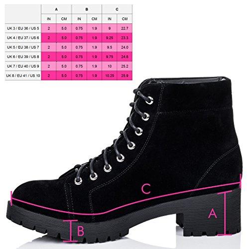 SPYLOVEBUY BLUEFIN Mujer Cordone Tacón Bloque Botes Bajas Zapatos Negro - Gamuza Sintética