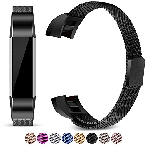 Bangle Mens Bands (For Fitbit Alta and Alta HR Magnetic Bands, Konikit Band Milanese Loop Stainless Steel Metal Replacement Bracelet Strap, Wristbands Accessories for Women Men (Black))