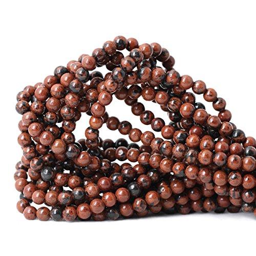 Qiwan 60PCS 6mm Natural Mahogany Obsidian Gemstone Round Loose Beads for DIY Jewelry Making handmade materials 1 Strand 15