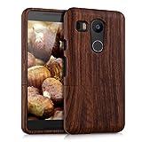 kwmobile Natural wood case for the LG Google Nexus 5X in rosewood dark brown
