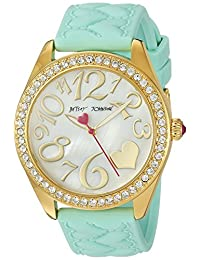 Betsey Johnson Women's BJ00048-171 Aqua Heart Textured Silicone Strap Watch
